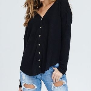 Oversized Thermal Button-Front Top